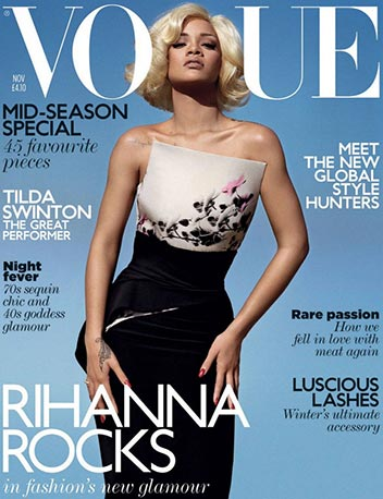 Rihanna-Vogue-black-african-american-women-people-girls-females-with-blonde-hair