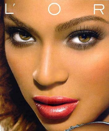 Music celebrity Beyonce Knowles' brown colored eyes in l'oreal photo advertisement