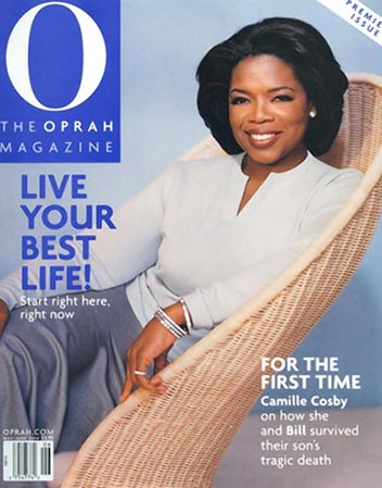 Oprah Winfrey, TV celebrity, on cover of 'O' magazine launch edition June 2000