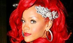 Singer Rihanna with red hair portrait picture