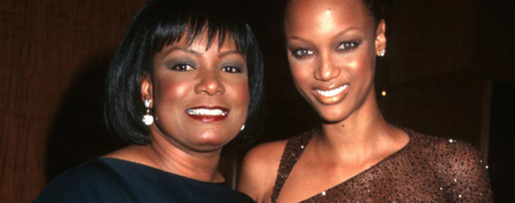 African American TV star and fashion model Tyra Banks natural green-colored eyes, with mother Carolyn London