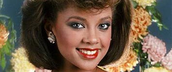 Blue-eyed African American Hollywood actress Vanessa Williams as the first black miss America 1984